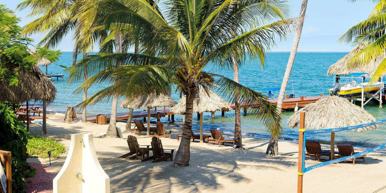 Pool on beach and Caribbean