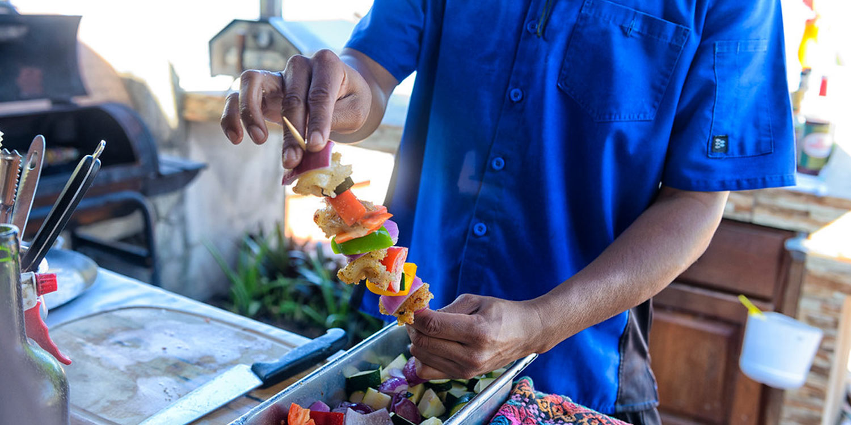 Fresh Caribbean shrimp kebab