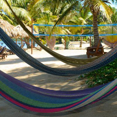 Three hammocks on Belize beach