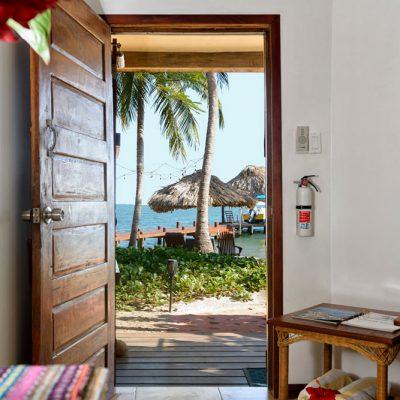 Beach cabana looking out on Caribbean
