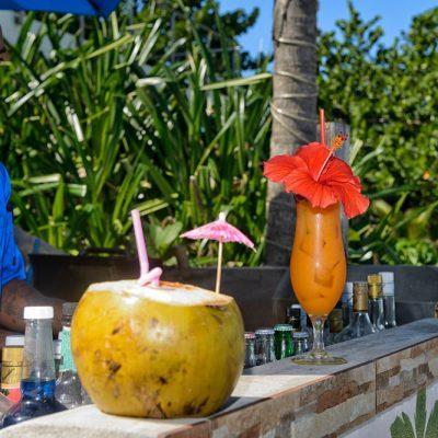 Belize rum drink in coconut