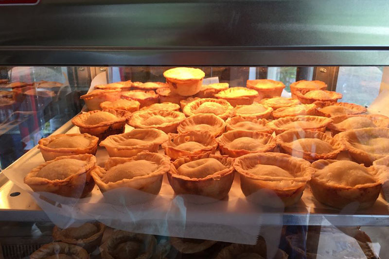 Fresh coffee and Belize meat pies