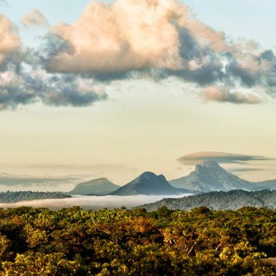 Maya mountains with clouds
