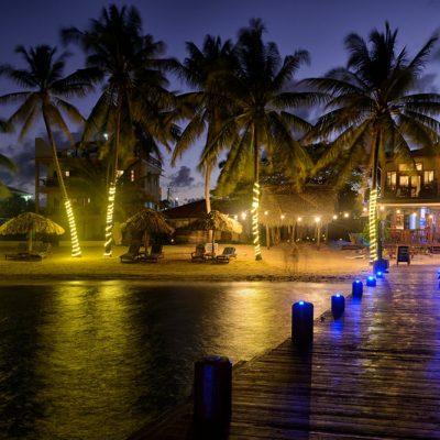 Beach and resort at night
