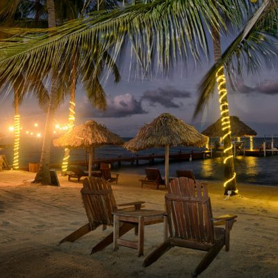Belize beach at night