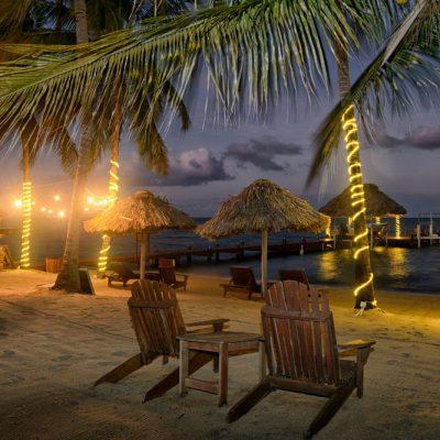 Belize beach at night