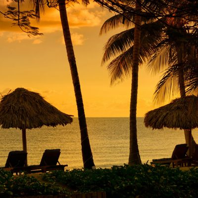 Sunset on Hopkins Belize beach