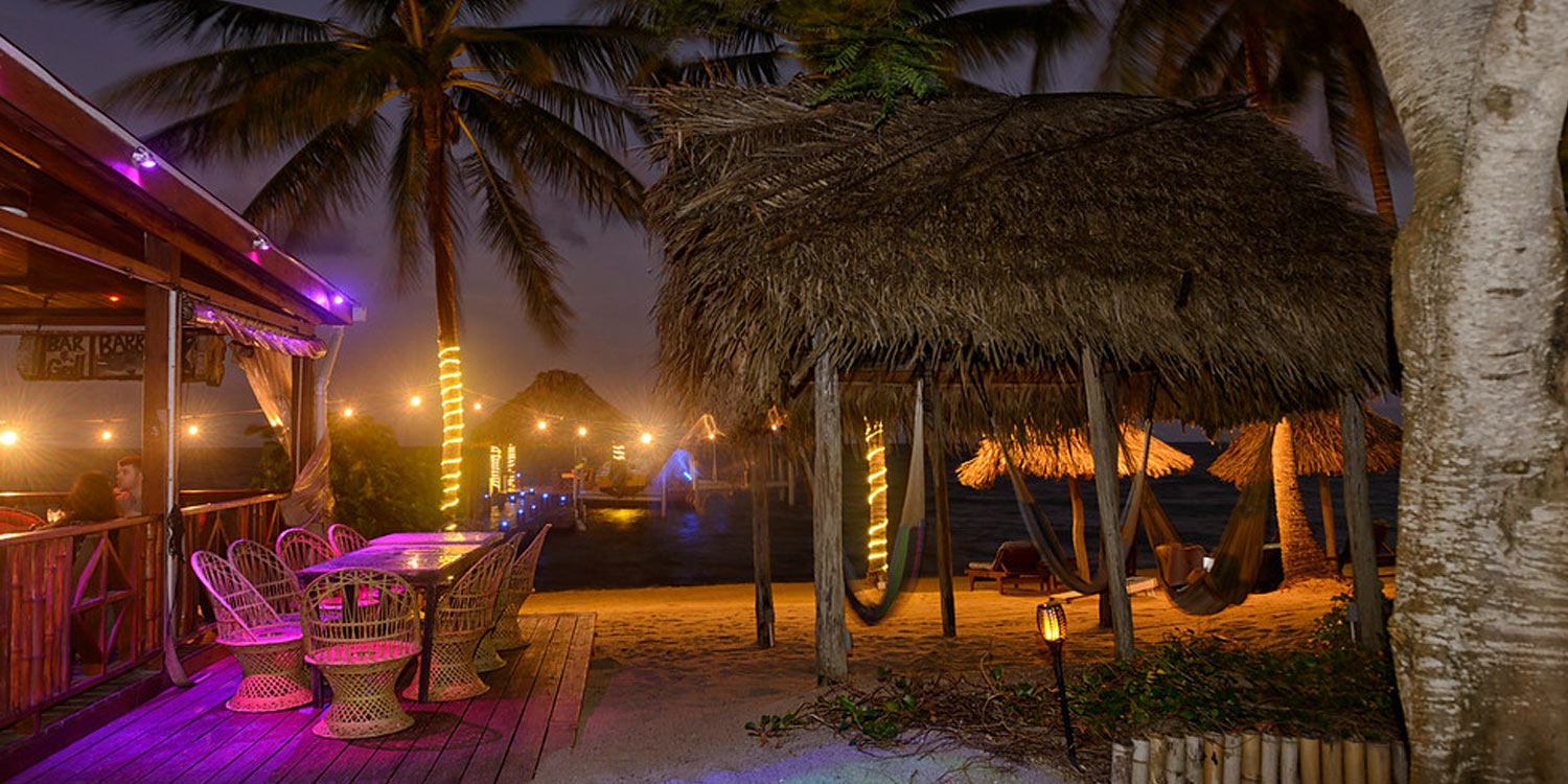 Hammocks at night on beach