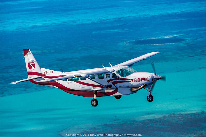 Tropic air flight over Caribbean