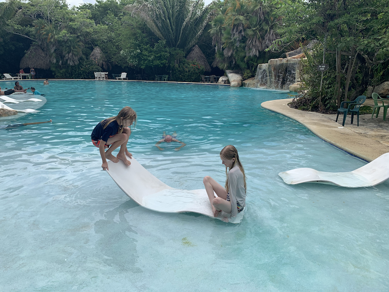 Kids play on water chair